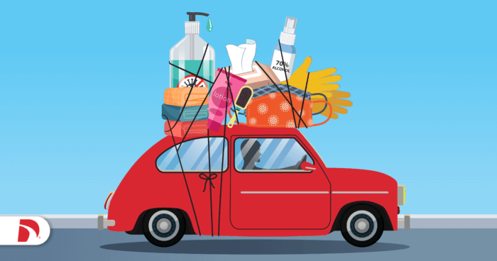 Drawing of red punch buggy with a roof rack filled with personal things to keep in your car