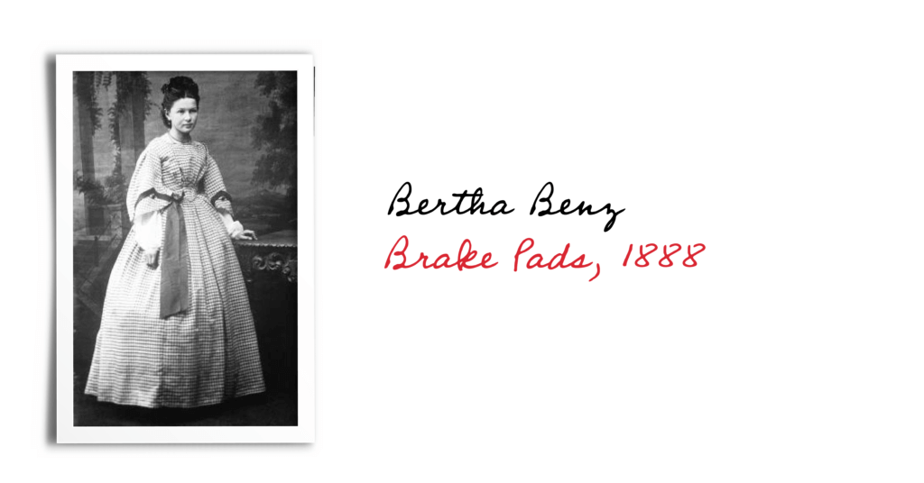 Black and white photograph of Bertha Benz, inventor of brake pads in 1888