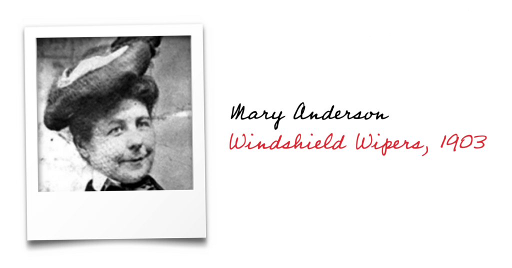 Black and white photo of Mary Anderson, inventor of windshield wipers in 1903