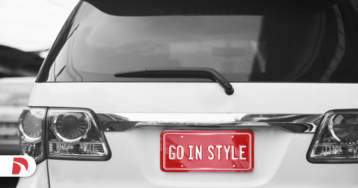 "a cheap car mod with a ""go in style"" personalized license plate"