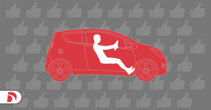 Drawing of a red hatchback on a gray background with a driver in the best driving position