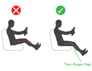 diagram of the most comfortable driving position with a two finger gap between the edge of the seat and the driver's knees