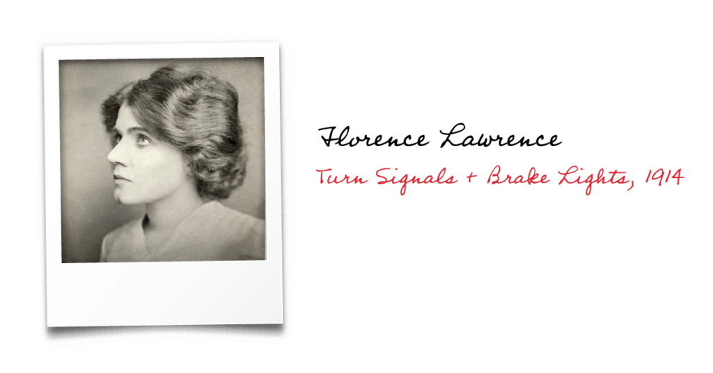 Black and white photo of Florence Lawrence, inventor of car turn signals and brake lights in 1914