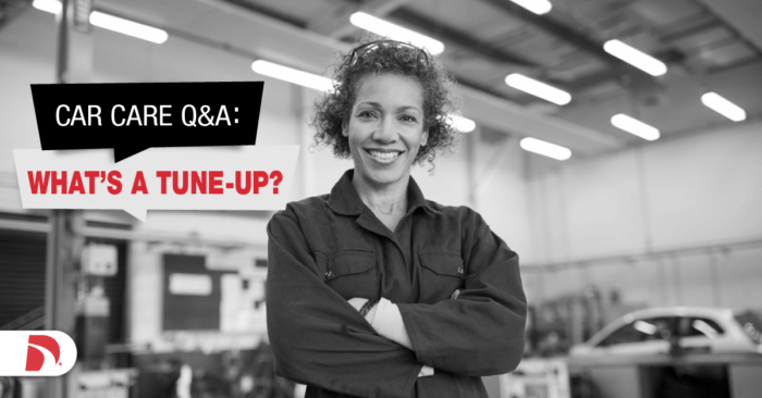 "Female mechanic with text overlay that says ""what is a tune-up"""