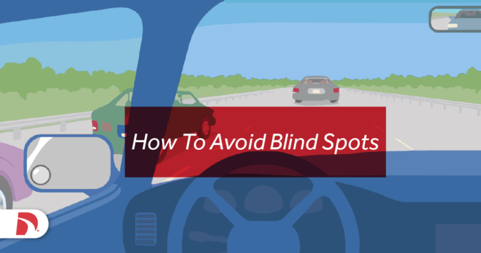 """Car dashboard view with text that says """"How to Avoid Blind Spots"""""""