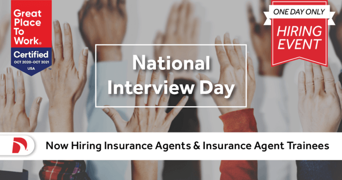 Direct Auto's national interview day virtual hiring event for insurance sales agents
