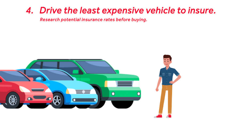 Drive the least expensive vehicle to insure.